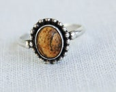 Vintage Ring Jasper Sterling Silver Mexican