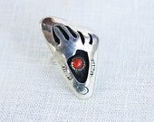 Vintage Red Coral Bear Paw Shadow Box Ring Navajo