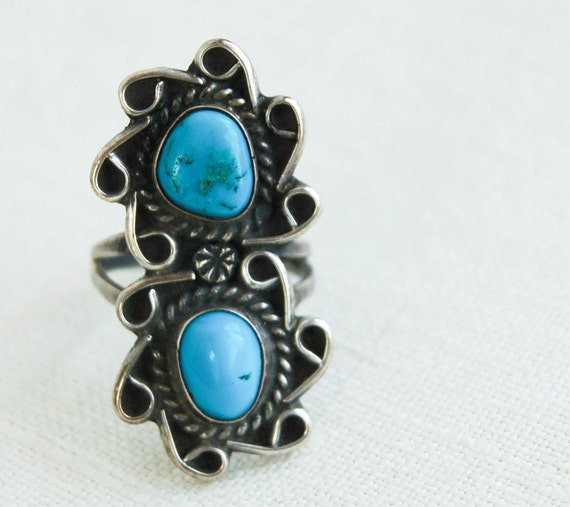 Vintage Turquoise Ring: Galaxies Collide