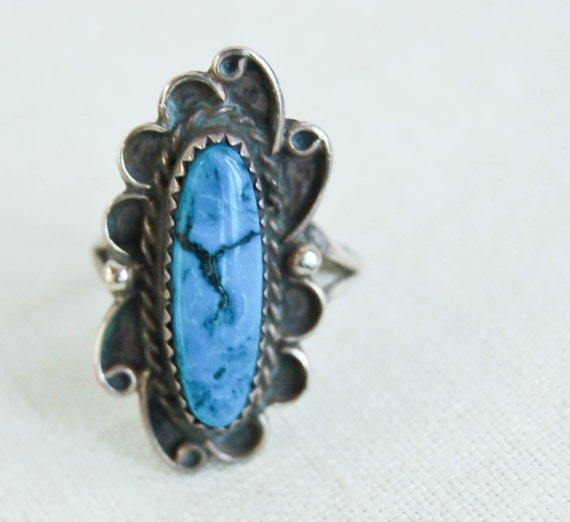 Vintage  Sterling and Turquoise Adorned Sky  Ring