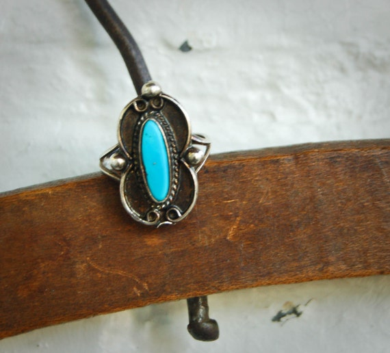 Vintage Turquoise Ring Southwestern Sterling Silver