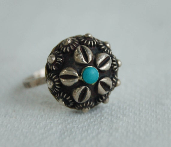 RESERVED for Maura Vintage Turquoise Ring Sterling Silver Sea Urchin
