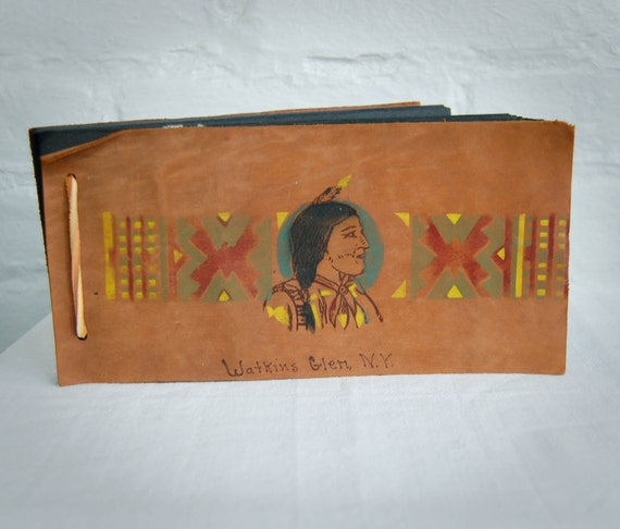 RESERVED for Molly Vintage Leather Photo Album Native American Souvenir 1930's New York