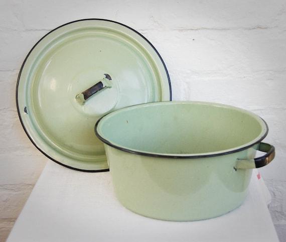 Vintage Enamelware Covered Pot in Sage Green
