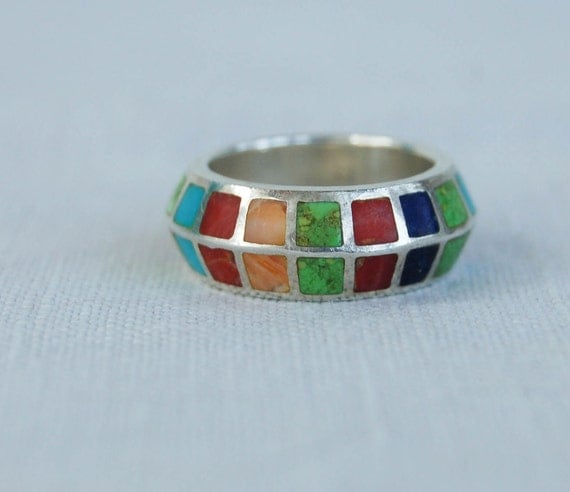 Vintage Ring Inlaid Multicolored Ring Desert Stones Sterling Silver