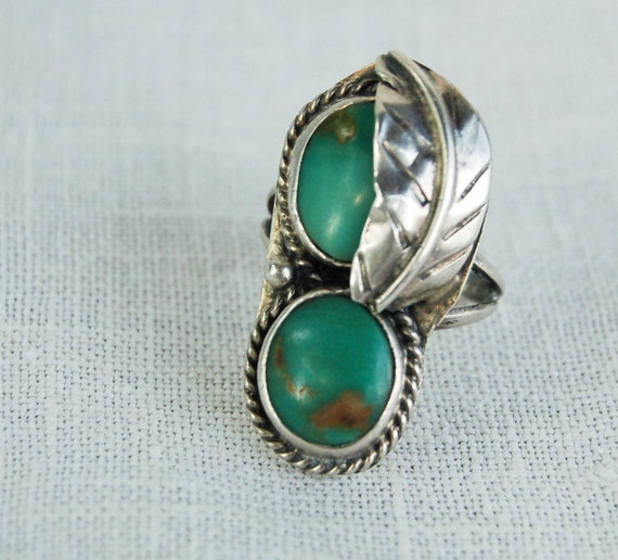 Vintage Native American Turquoise Ring Romance in the Desert