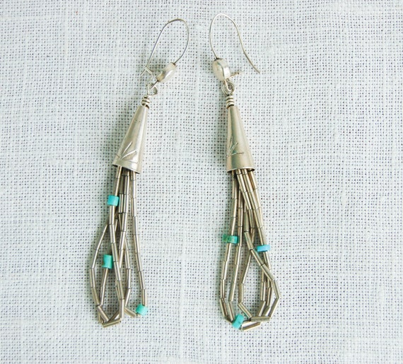 Vintage Liquid Silver and Turquoise Beaded Earrings