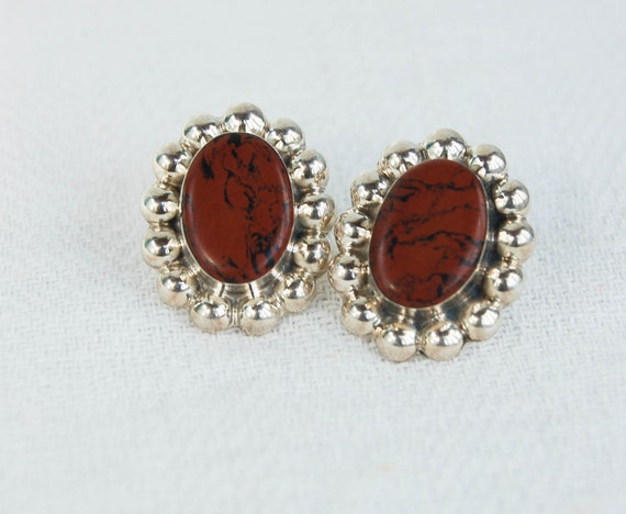 Vintage Mexican Earrings Sterling Silver and Brown Stone Posts