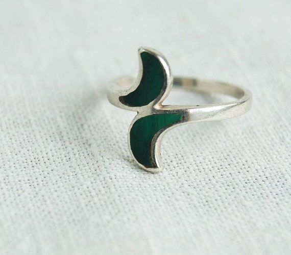 Vintage Malachite Ring Double Moons Entwined