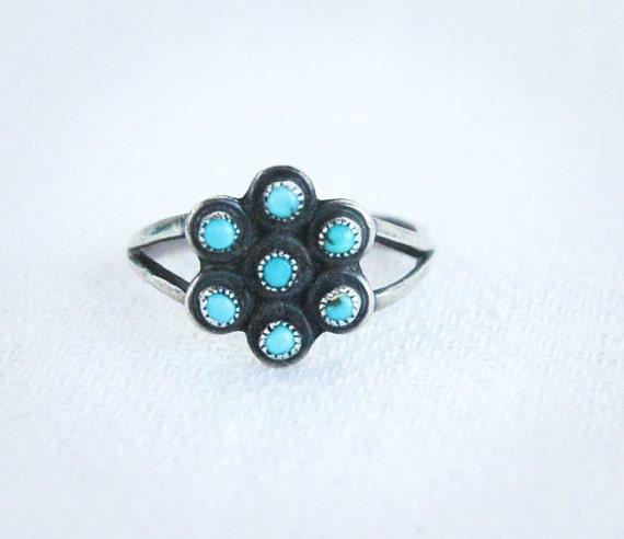 Vintage Turquoise Ring Zuni Petit Point Daisy