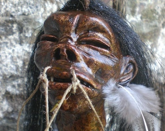 Shrunken Head Replica. pigmy warrior. worldwide shipping