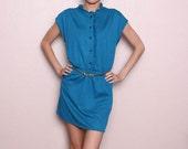 Vintage Indie Hipster Teal Dress - Mini