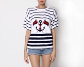 Vintage Nautical Navy White Red Knit Top