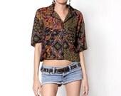 Vintage Boho Bold Paisely Pattern Button Down Shirt