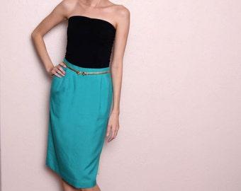 Vintage 80s Teal High Waist Pencil Skirt