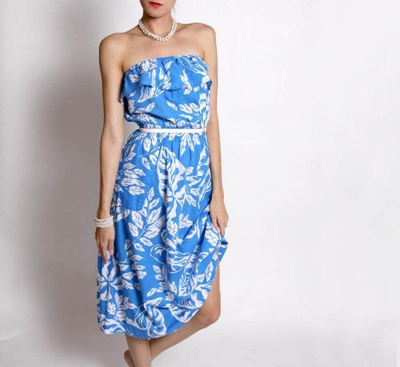 Vintage Blue and White Hawaiian Dress