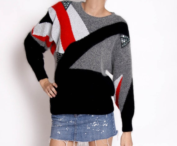 Vintage Sweater - Red silver black and Grey - 80s
