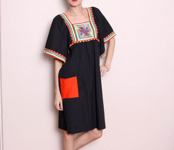 Vintage Hippie Boho Black Red Dress