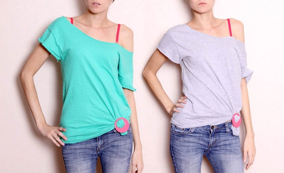 Two Vintage 80s Cut off  Tshirts Grey and Teal with One Pink Shirt Clip