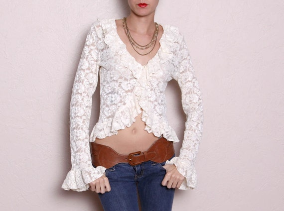 Vintage Lace Long Sleeve Cream Top
