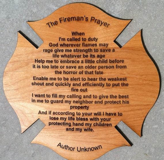 Fireman's Prayer on Maltese Cross 8 inch by 8 inch with Free Shipping.