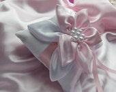RING BEARER PILLOW, White Satin Pillow, Light Pink and White Satin Petals, White Pearls, Light Pink Satin Ribbon