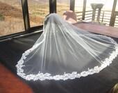 WEDDING VEIL Beautiful White Tulle, White Lace Three Thousand Beaded