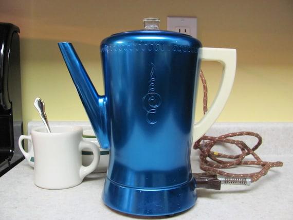 Blue Anodized Aluminum Percolator Coffee Pot