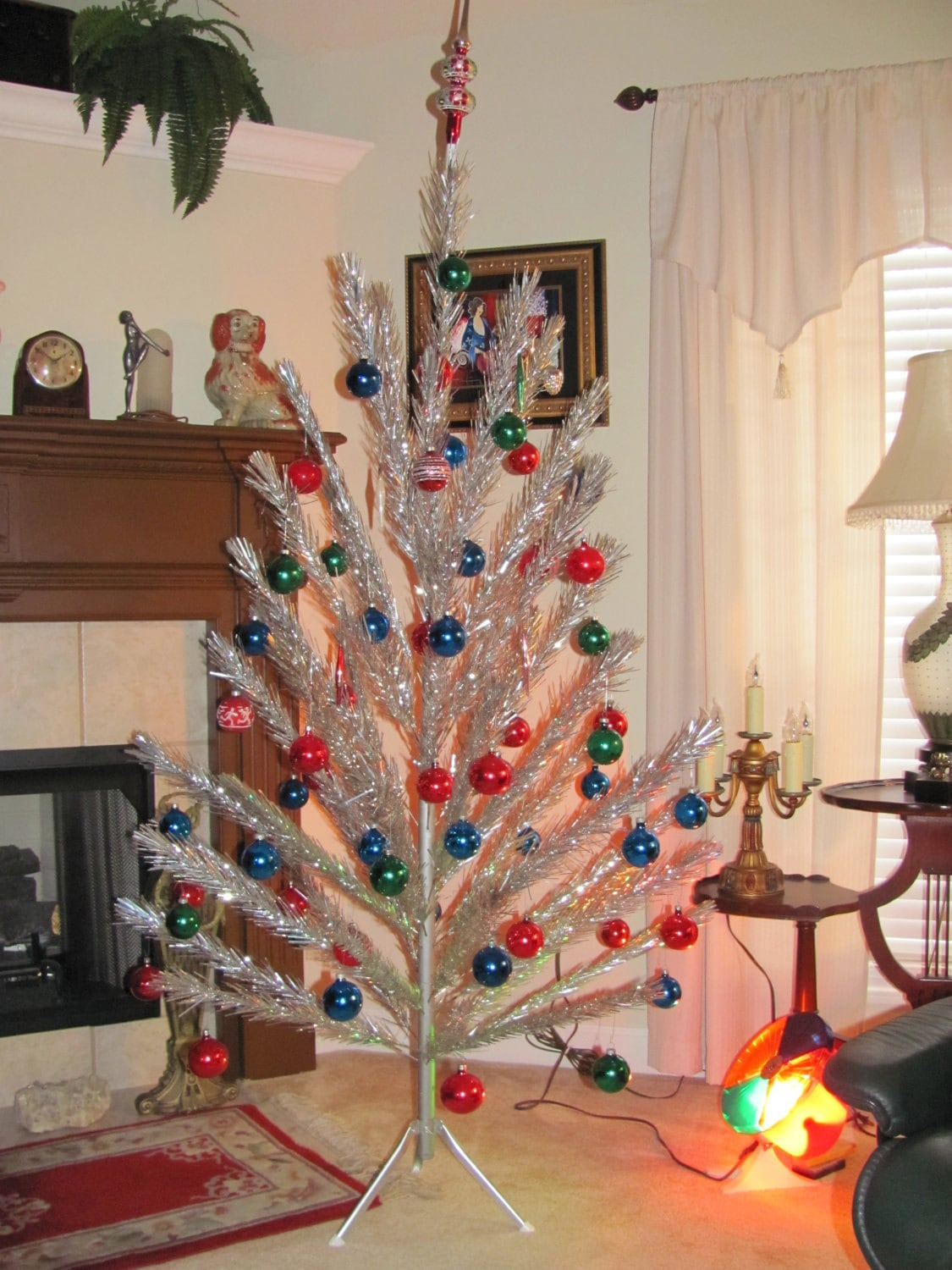 Silver Christmas Tree With Color Wheel Vintage