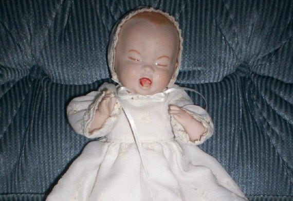 Items Similar To Porcelain Vintage Crying Baby Doll With White Eyelet