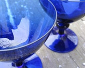 Vintage Colbalt Blue Glasses. Wine, Martini, Cordial Glasses.  Set of Two.