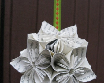 Upcycled Book Kusudama Ball.  Wedding, Holidays, Gifts.  Custom Orders Welcome.