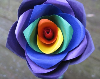 Rainbow Paper Rose. ROYGBIV.  Paper Flower. Wedding, Bouquet, Easter, Mothers Day.