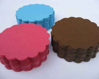 100 Scalloped Circles. 2 inch. CHOOSE YOUR COLORS. Wedding, Favor Tags, Garlands, Wishing Tree.