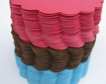 50 Scalloped Circles. 5 inch. CHOOSE YOUR COLORS. Wedding, Shower, Top Notes, Escort Cards, Place Cards, Etc.