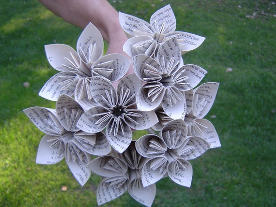 book origami paper flower bouquet  custom orders welcome