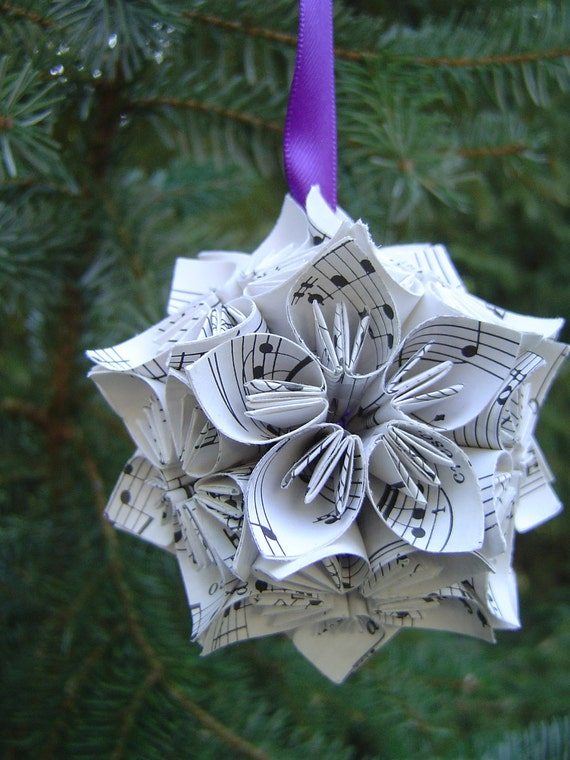 Mini Sheet Music Kusudama Ball. Origami Paper Flowers.  Any size or ribbon type available upon request. Ready to ship.