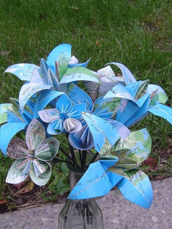 vintage map paper flower bouquet  origami kusudama lily