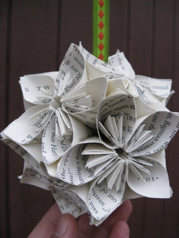Book Page Kusudama Ball.  Upcycled Origami. Wedding Decor, Gift, Home, Unique.