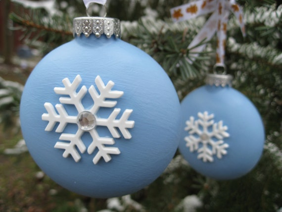 Winter Powder Blue Ornaments with Snowflakes and Gingerbread Ribbon. Set Of Two.
