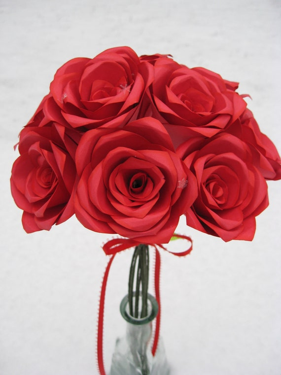 Valentine Red Paper Roses. Or CHOOSE Your COLORS. Anniversary, Wedding, Shower, Home, Decoration. Custom Orders Welcome.