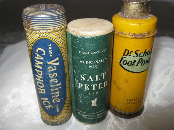 Three Antique Containers: Dr. Scholls, Vaseline, Salt Peter. Collectable bottles, containers.