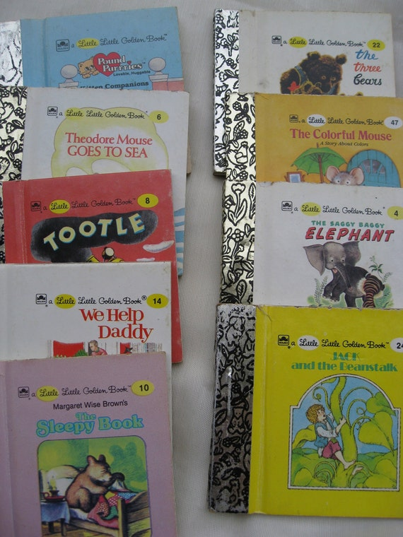Vintage Collection of Little Golden Books.  Nine Books from the 1970's-1980's. Classic Stories for Children.