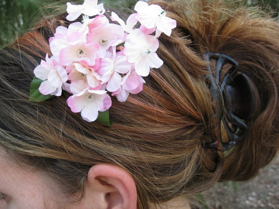 Whimsical Pink Cherry Blossom Hair Piece. Flower Girl, Bride, Bridesmaid.  Wedding Hair Accessories.  SPECIAL ORDERS Welcome