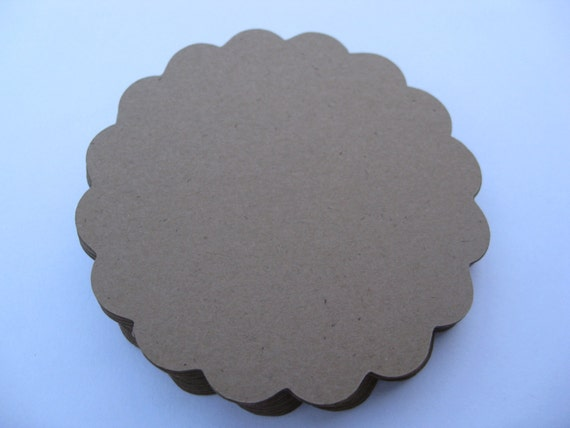 30 Scalloped Circle Tags. 3 inch. CHOOSE YOUR COLORS.  Wedding, Gft, Scrapbooking, Favor, Cupcake, Top Notes.