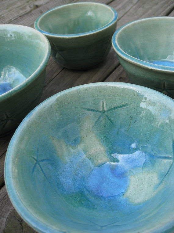 Set of Four Stonewear Bowls. Glazed in Green and Pool Blue. With Star Pattern. Thrown On Wheel.