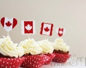 Printable file of 'Oh Canada' red and white cupcake toppers - FrostandFete