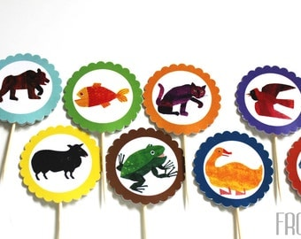 Printable digital file of Brown Bear, Brown Bear-inspired birthday cupcake toppers and wrappers