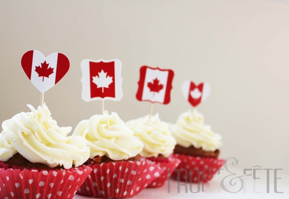 Printable digital file of 'Oh Canada' red and white cupcake toppers