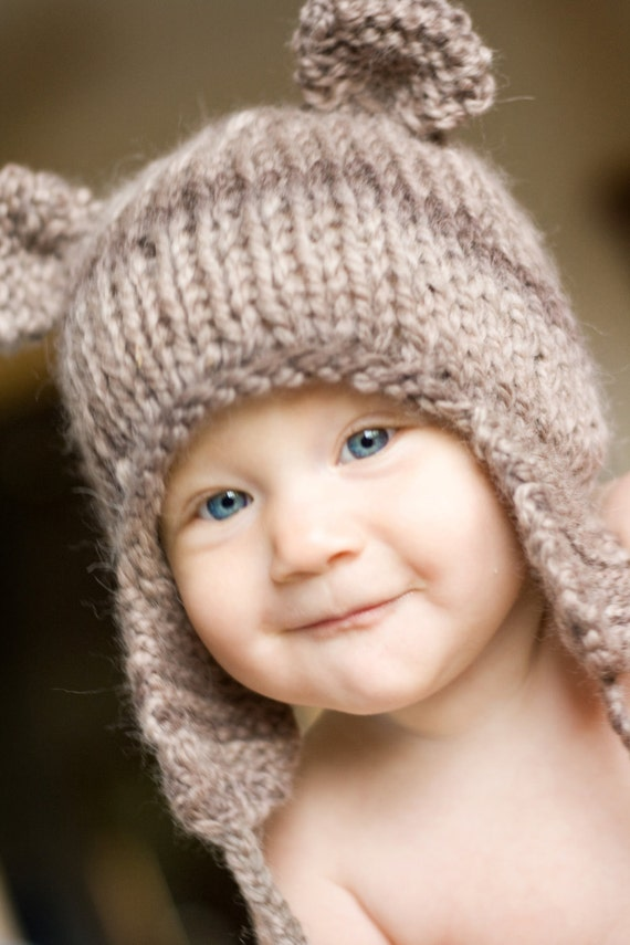 Earflap Hat Knitting Pattern Bulky Yarn : Items similar to PDF Knitting PATTERN FILE Teddy Bear ...